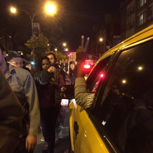 sixth avenue, tuesday night after darren wilson was let off the hook for the murder of michael brown in ferguson
